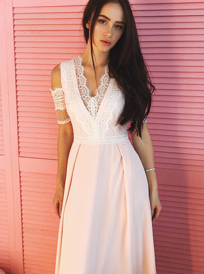 V-Neck Cold Shoulder Pearl Pink Satin Prom Party Dress with Lace