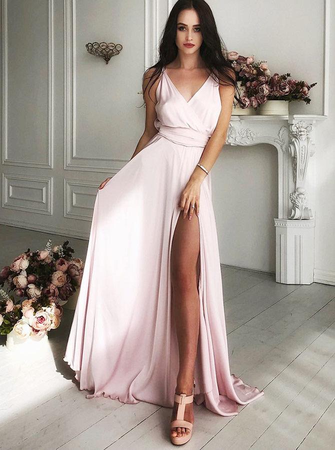 A-Line V-Neck Sweep Train Pink Satin Prom Dress with Split