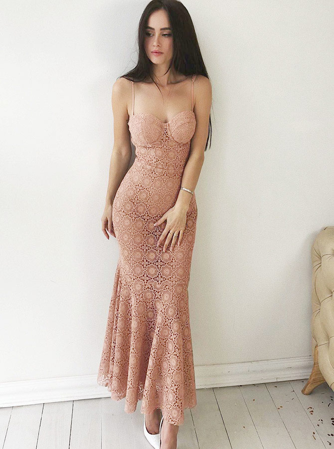 Mermaid Spaghetti Straps Pink Lace Long Prom Party Dress фото