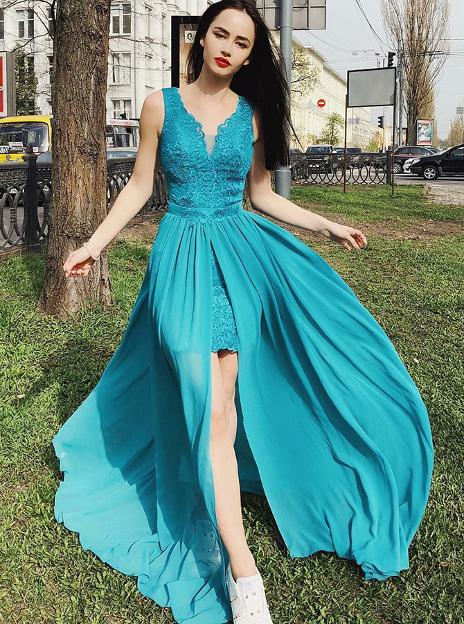 V-Neck Turquoise Chiffon Prom Party Homecoming Dress with Lace фото