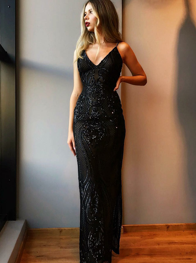 Sheath V-Neck Long Black Lace Prom Party Dress with Beading фото