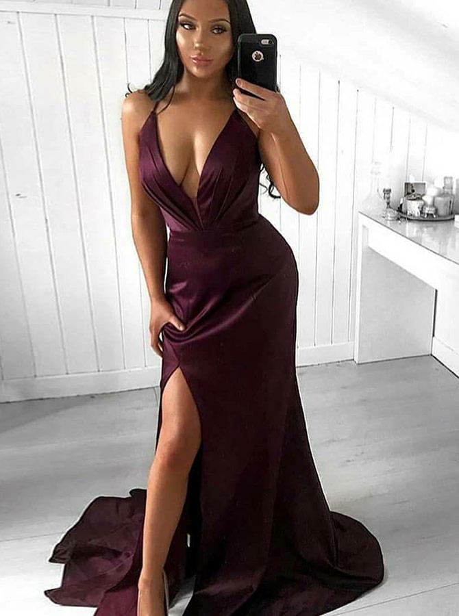 Mermaid V-Neck Sweep Train Wine Satin Prom Party Dress with Split, Wine red