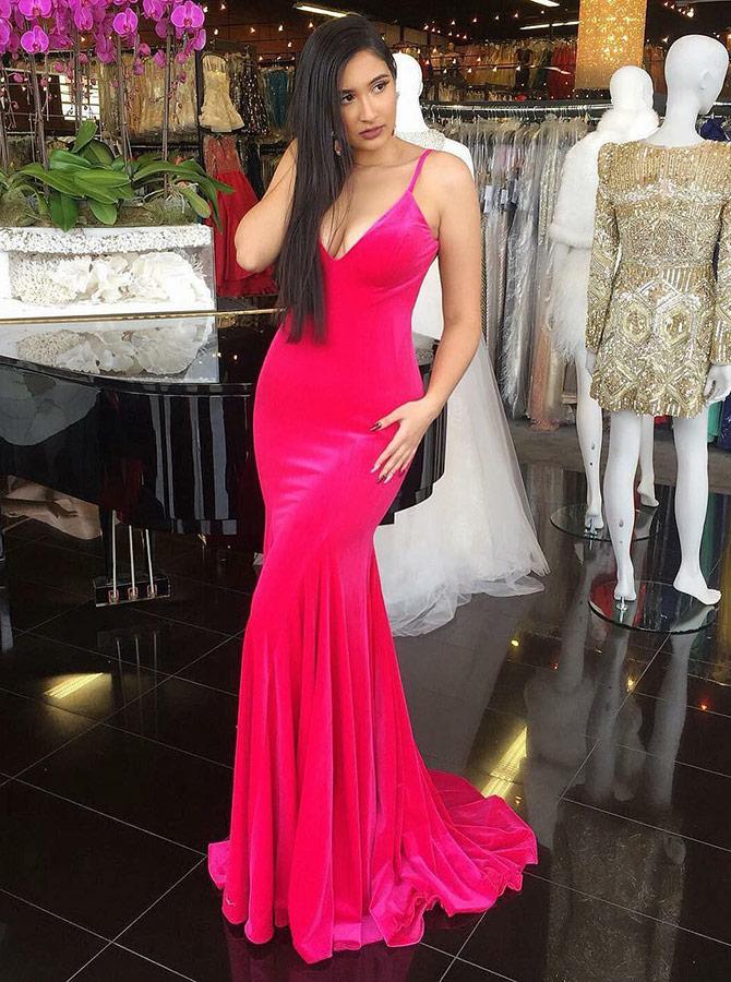 Mermaid Spaghetti Straps Long Fuchsia Satin Prom Party Dress