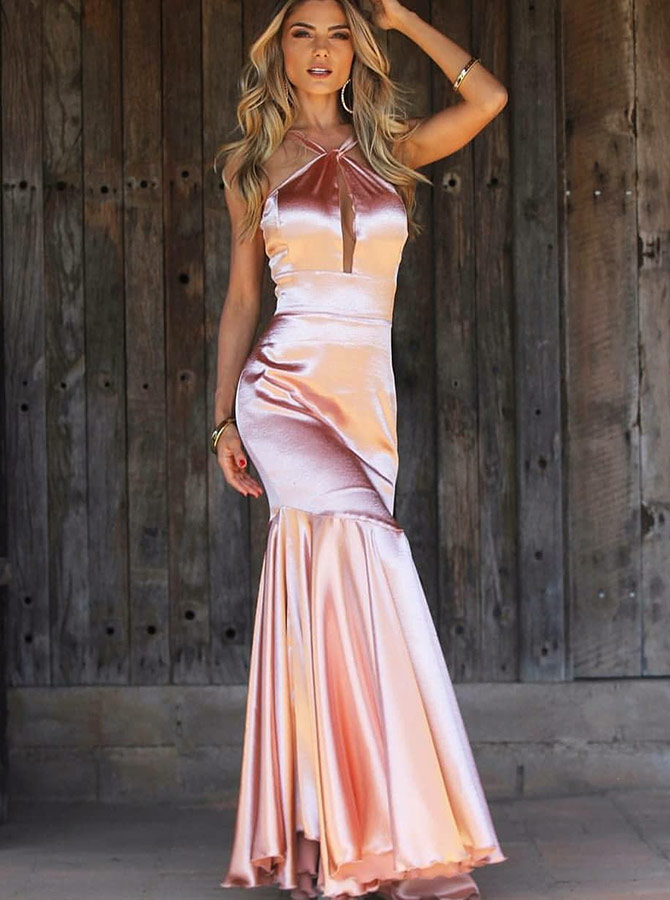 Mermaid Cross V-Neck Pink Satin Prom Party Dress with Keyhole фото