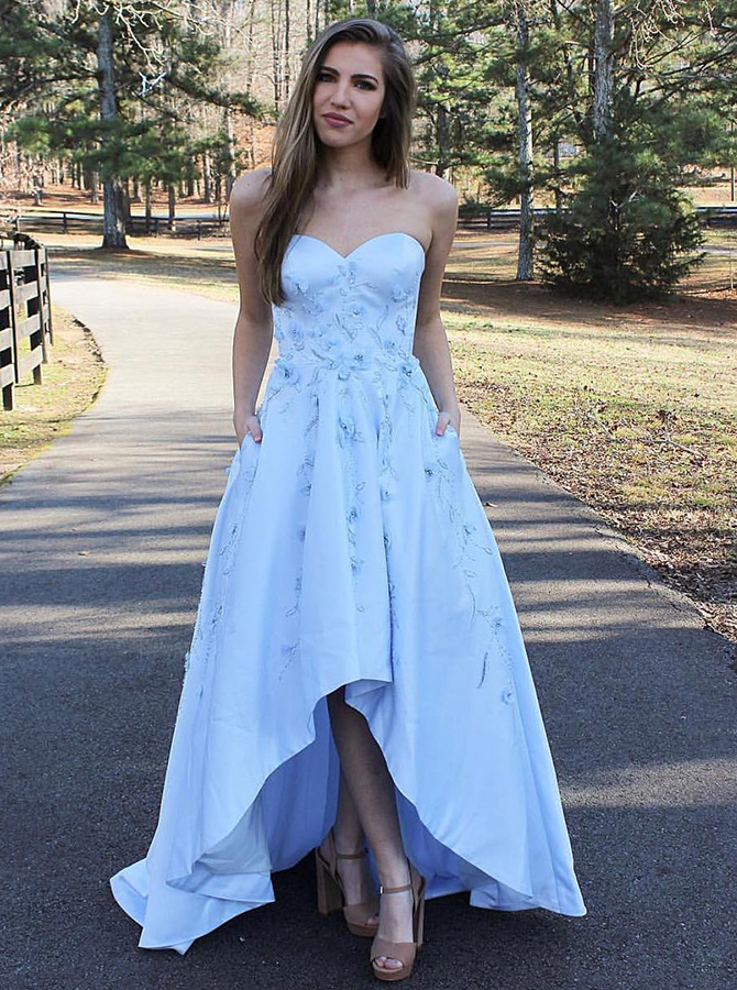 A-Line Sweetheart Light Blue High Low Satin Prom Dress with Appliques фото
