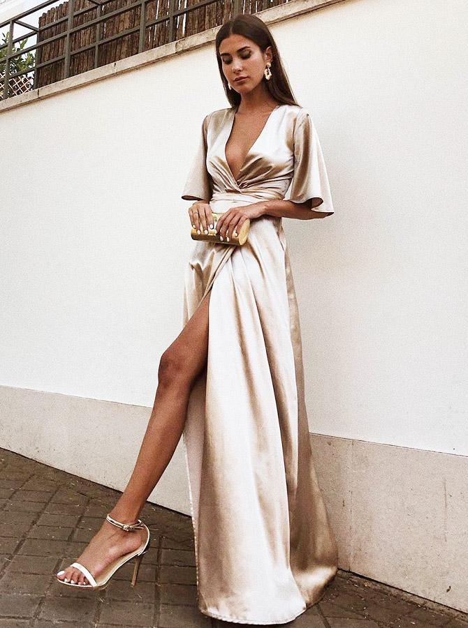 Simple-dress / A-Line Deep V-Neck Champagne Satin Evening Prom Dress with Split