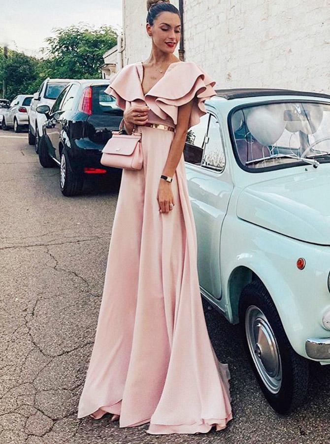 A-Line V-Neck Pink Chiffon Long Evening Prom Dress with Ruffles Belt фото
