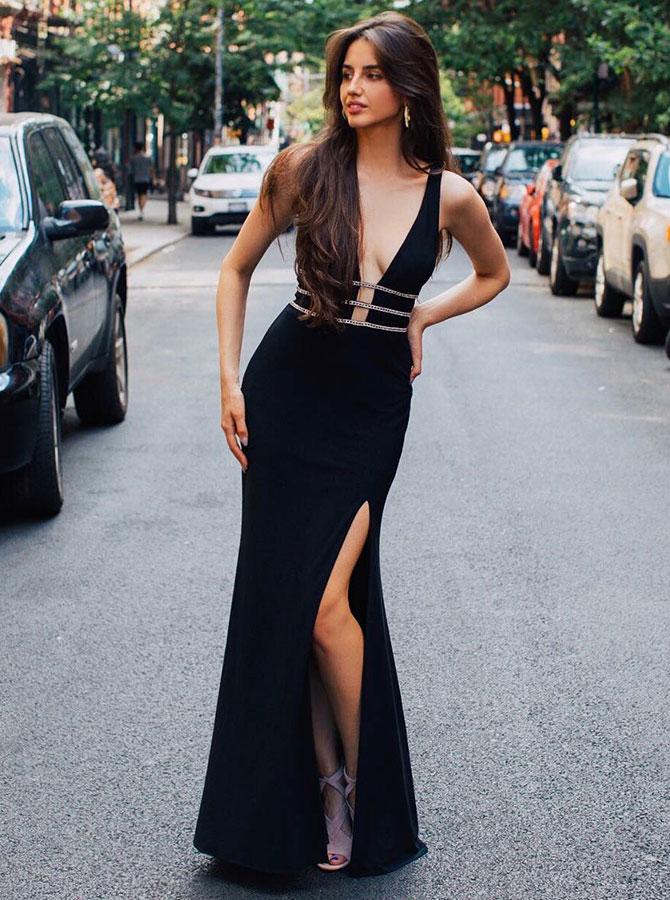 Sheath V-Neck Floor Length Black Satin Homecoming Party Dress with Beading Split фото