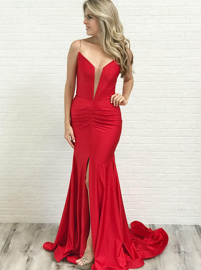 Mermaid Spaghetti Straps Low Cut Red Satin Prom Party Dress with Split фото