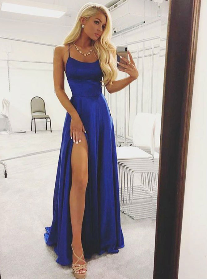 A-Line Spaghetti Straps Royal Blue Satin Long Homecoming Prom Dress with Split фото