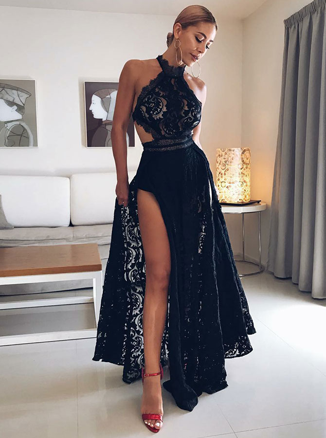 Simple-dress / A-Line Halter Floor Length Black Open Back Lace Homecoming Prom Dress with Split