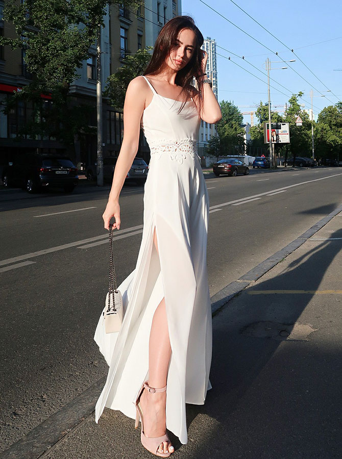 Sheath Spaghetti Straps Floor Length White Chiffon Prom Party Dress with Appliques