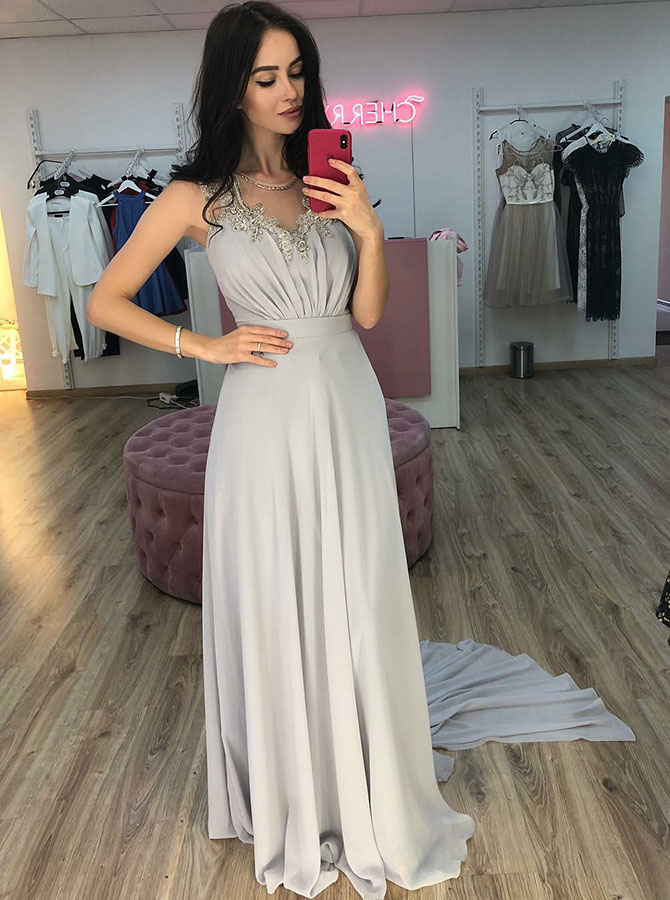 A-Line Round Neck Sweep Train Grey Chiffon Prom Party Dress with Appliques фото