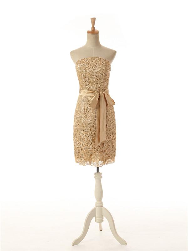 Strapless Mini Lace Column Bridesmaid Dress-White Dress with Removable Sash LABD-70935 фото