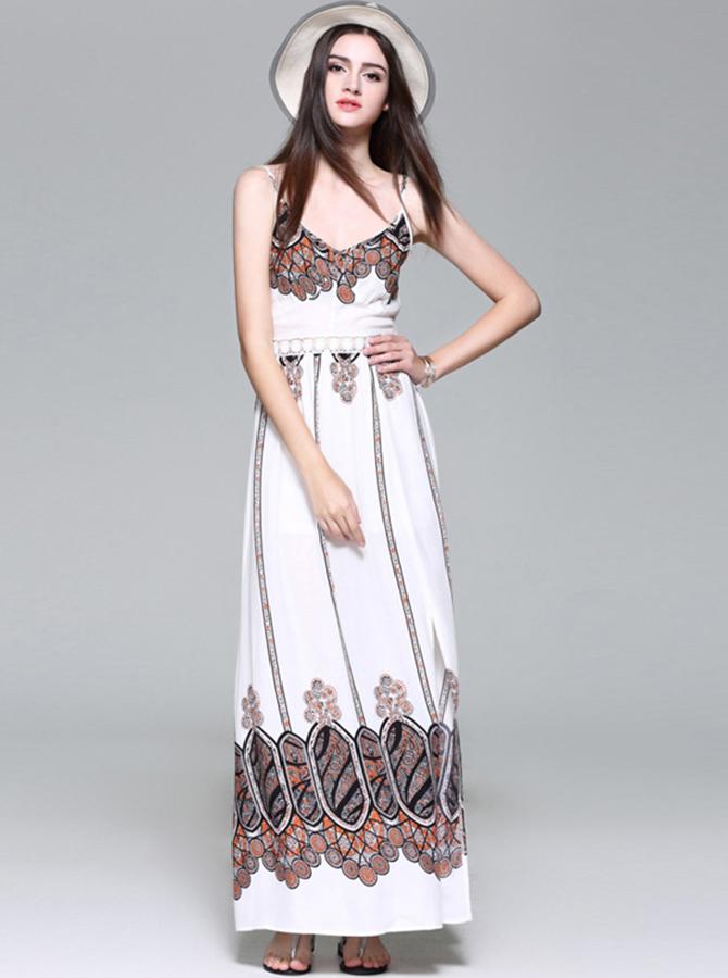 Spaghetti Straps White Sexy Side Slit Long Maxi Boho Dress фото