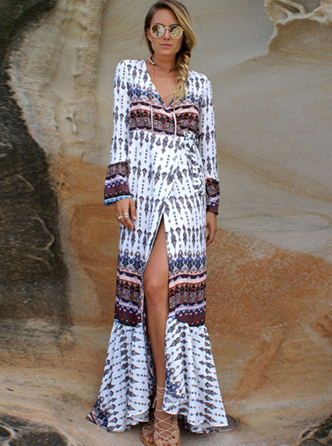 V-Neck Flare Sleeves Drawstring Tribal Printed Maxi Dress фото