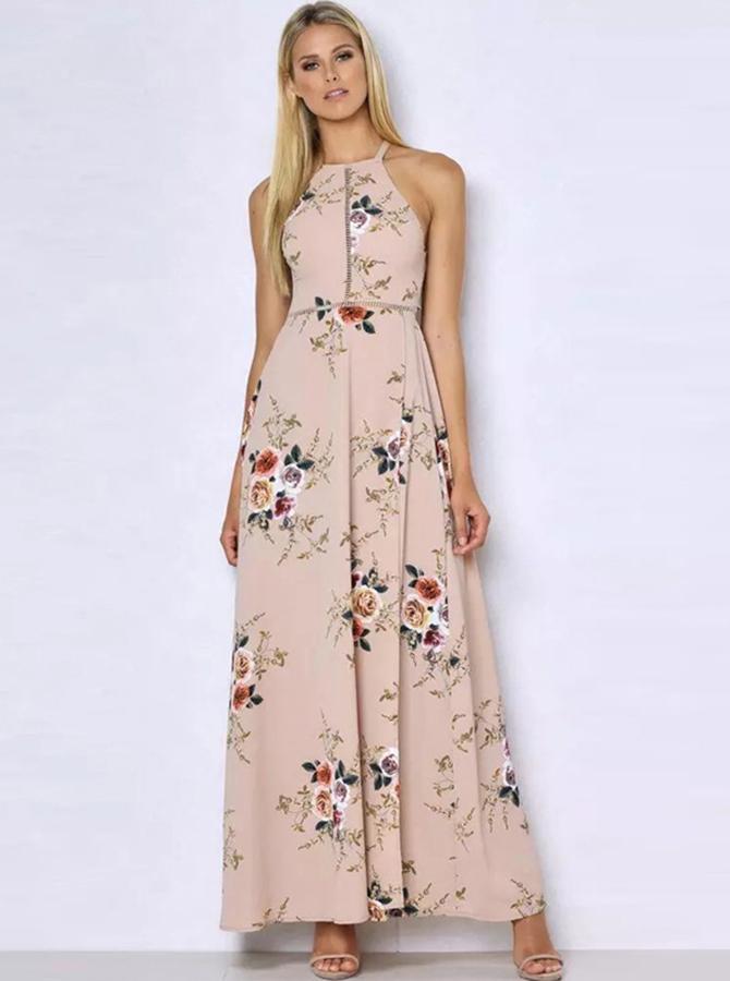 Halter Open Back Long White Floral Printed Boho Dress фото