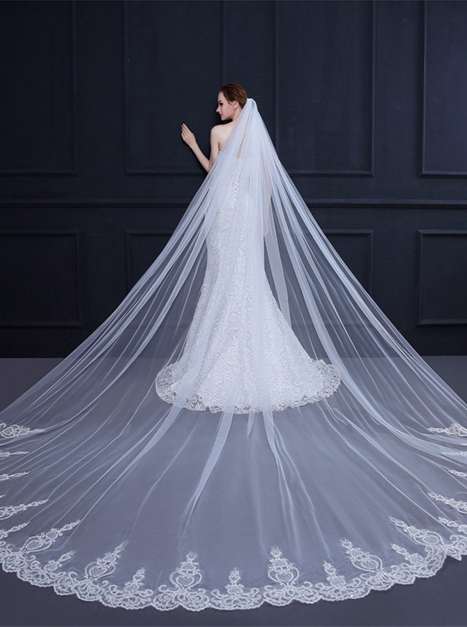 One-tier Lace Applique Edge 3m Cathedral Bridal Veils фото