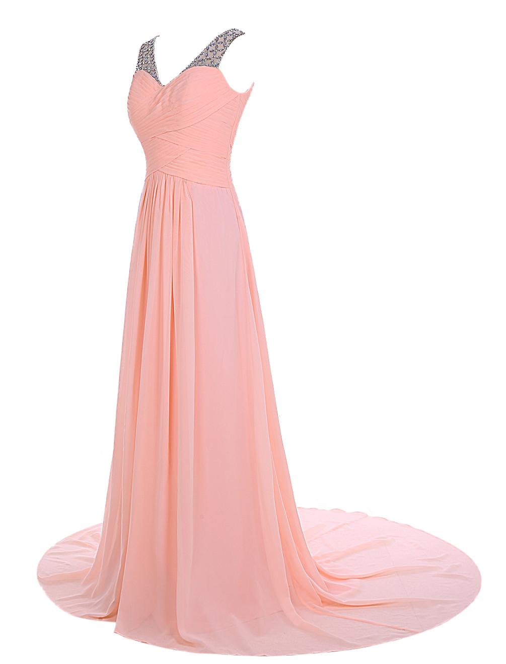 Elegant A-line Sweep Train V-neck Chiffon Beading Pink Prom Dress Evening Gowns фото