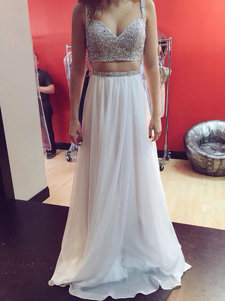 Sexy Two-pieces Sequins Sweetheart Prom Dress-A-line Spaghetti Floor-length Chiffon Dress фото