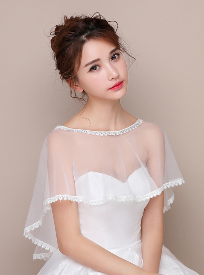 Bateau White Tulle Wedding Wraps with Lace фото