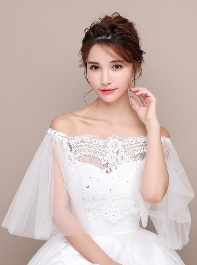 Off-the-Shoulder 3/4 Sleeves Lace Wedding Wraps with Crystal фото