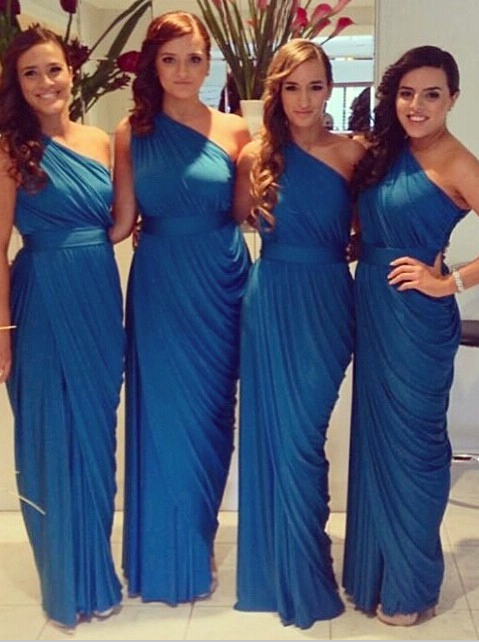 Simple & Casual Royal Blue One Shoulder Ruffles Long Bridesmaid Dresses CHBD-70950 фото