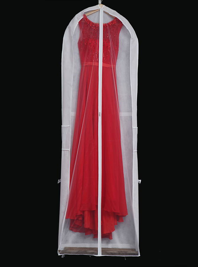 White Non-woven Gown Length Garment Bags with Handles, Champagne