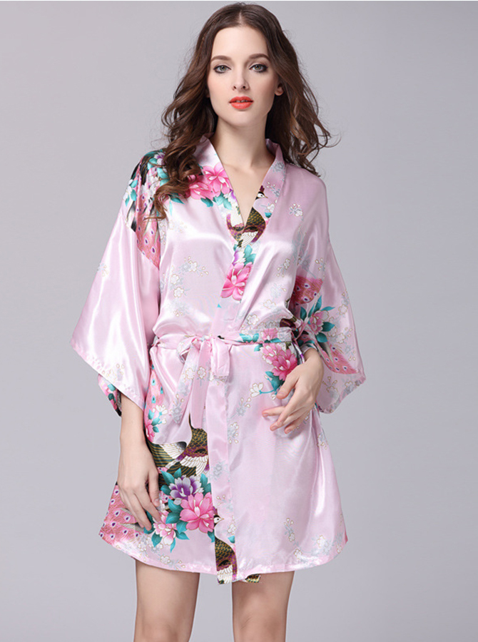 Floral Pink Polyester Bridesmaid Kimono Robes with Long Sleeves