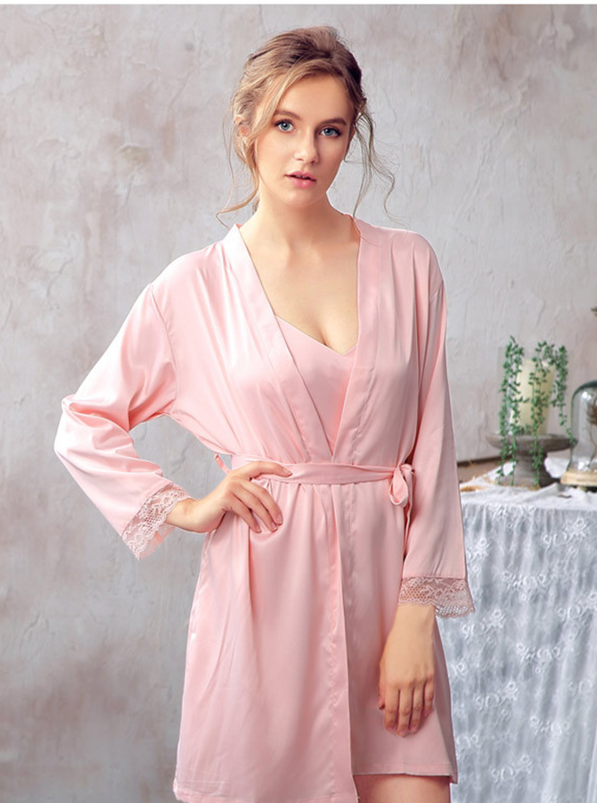 Bridesmaid Long Sleeves Pink Polyester Robes with Lace фото