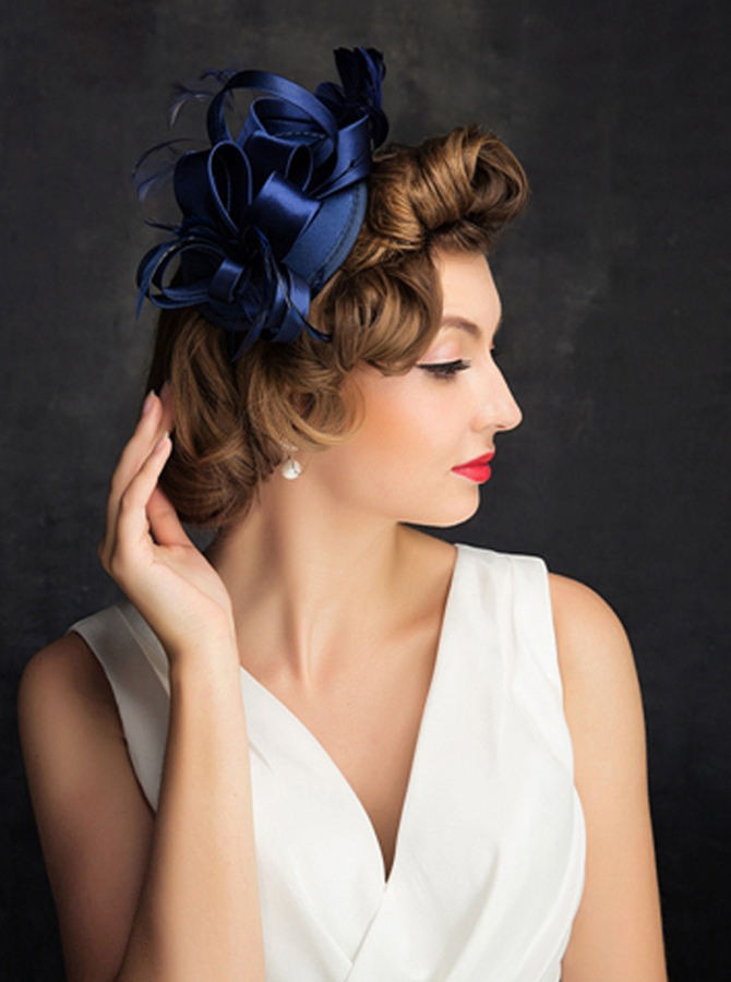 Ladies' Vintage Satin Fascinators With Silk Flower фото