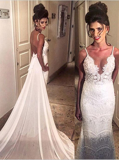Mermaid Spaghetti Beading Open Back Lace Wedding Dresses with Court Train фото