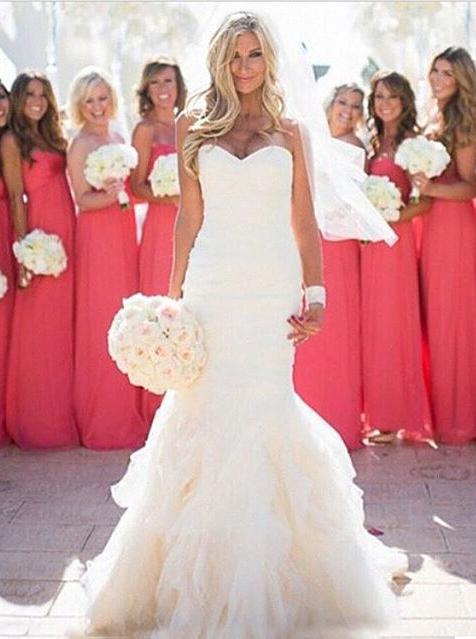 Fashion Sweetheart Ruffles Floor-length Mermaid Wedding Dress фото