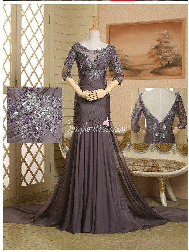 Gorgeous Mermaid Scoop Long Mother of the Bride Dress- Half Sleeve V-neck Chiffon, Grey