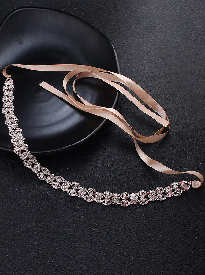 Stylish/Elegant Alloy Sash with Crystal, Gold