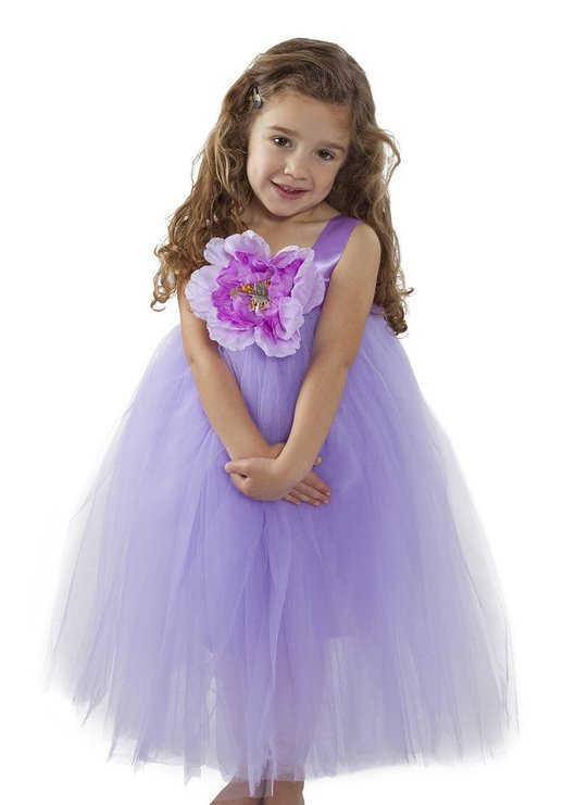 A-line Purple Satin Straps Tulle Flower Girl Dress with Flower FGD-81312 фото