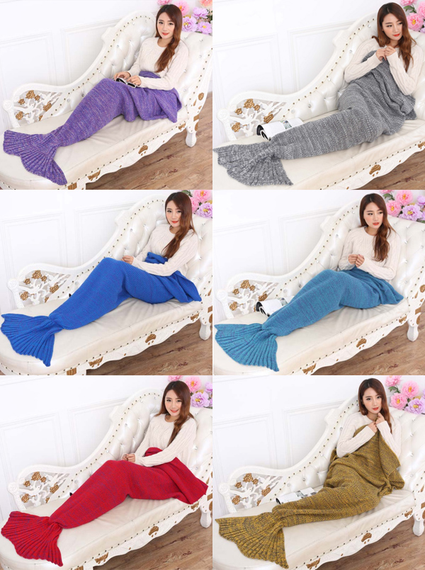Hot Selling Handmade Acrylic Knitted Blanket Mermaid Tail Blanket Sofa Blanlet (7 Colours) thumbnail