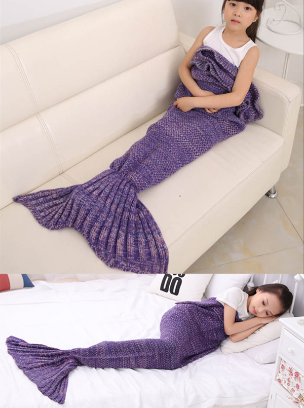 Cute Mermaid Blanket Purple Mermaid Blanket Crochet Baby Blanket thumbnail