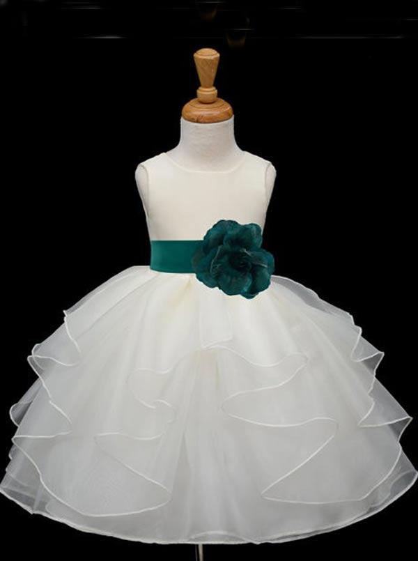 Simple-dress / Simple Scoop Ball Gown Organza Sash Flower Girl Dress