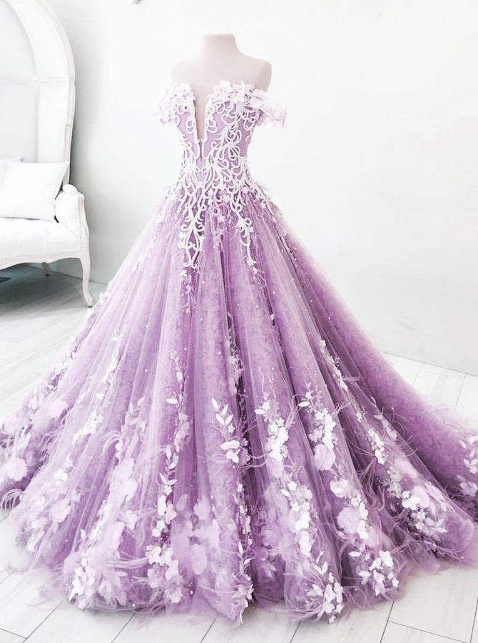 Ball Gown Off-the-Shoulder Lavender Tulle Appliques Prom Dress with Feather фото