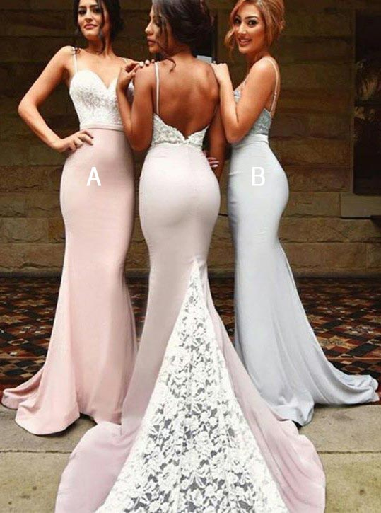 Sexy Spaghetti Long Bridesmaid Dresses With White Lace фото