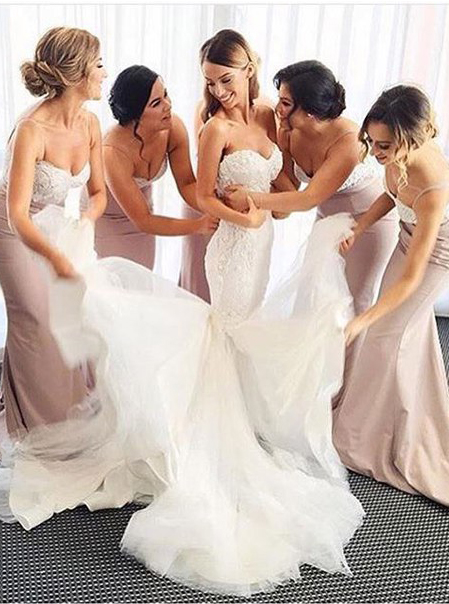 Gorgeous Sweetheart Long Bridesmaid Dress With Lace Train фото