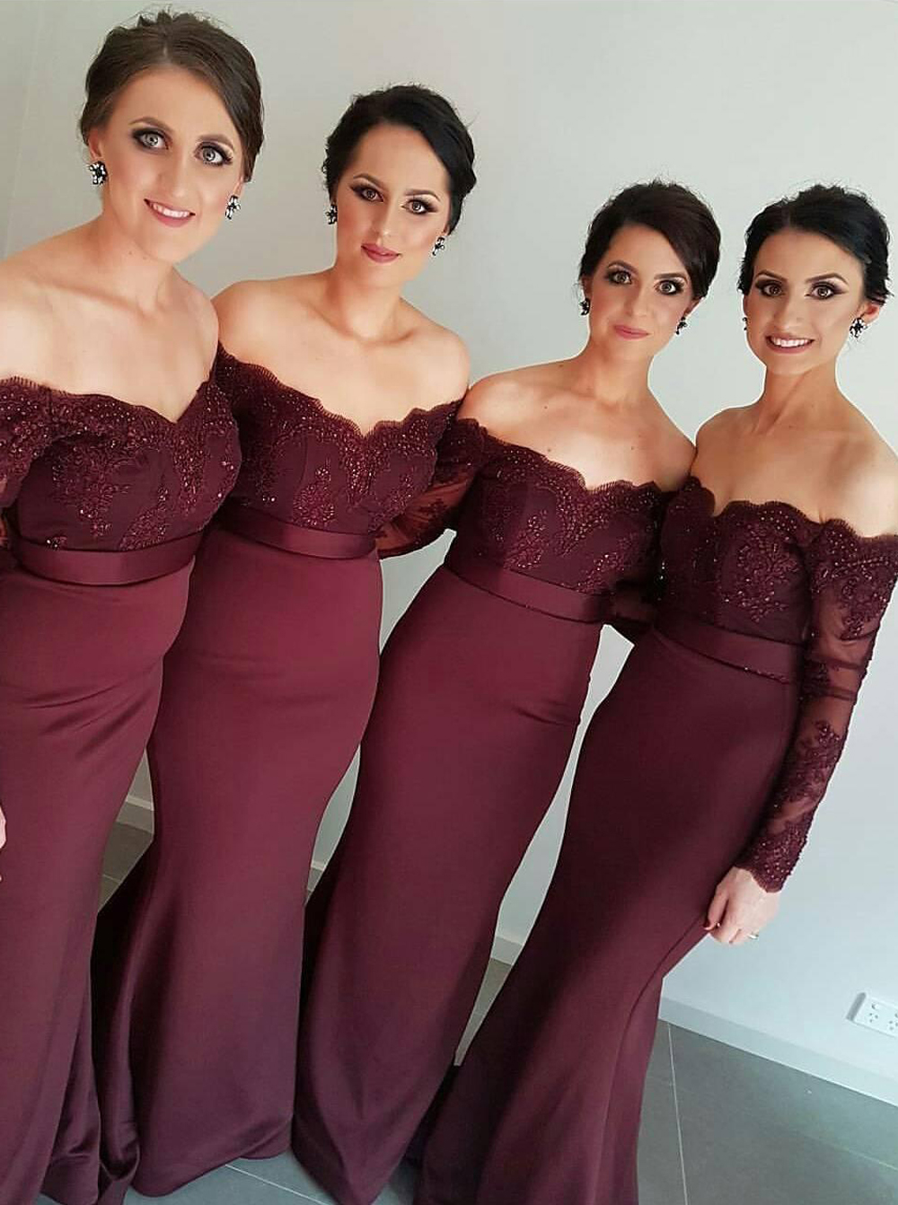 New Arrival Off-the-Shoulder Maroon Trumpet/Mermaid Bridesmaid Dress thumbnail