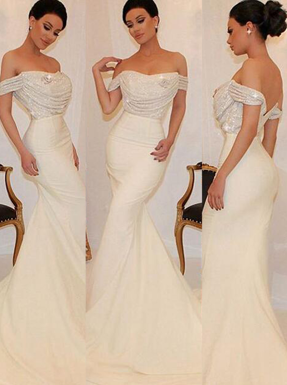 Gorgeous Off-The-Shoulder Mermaid/Trumpet Bridesmaid Dress with Sequins фото