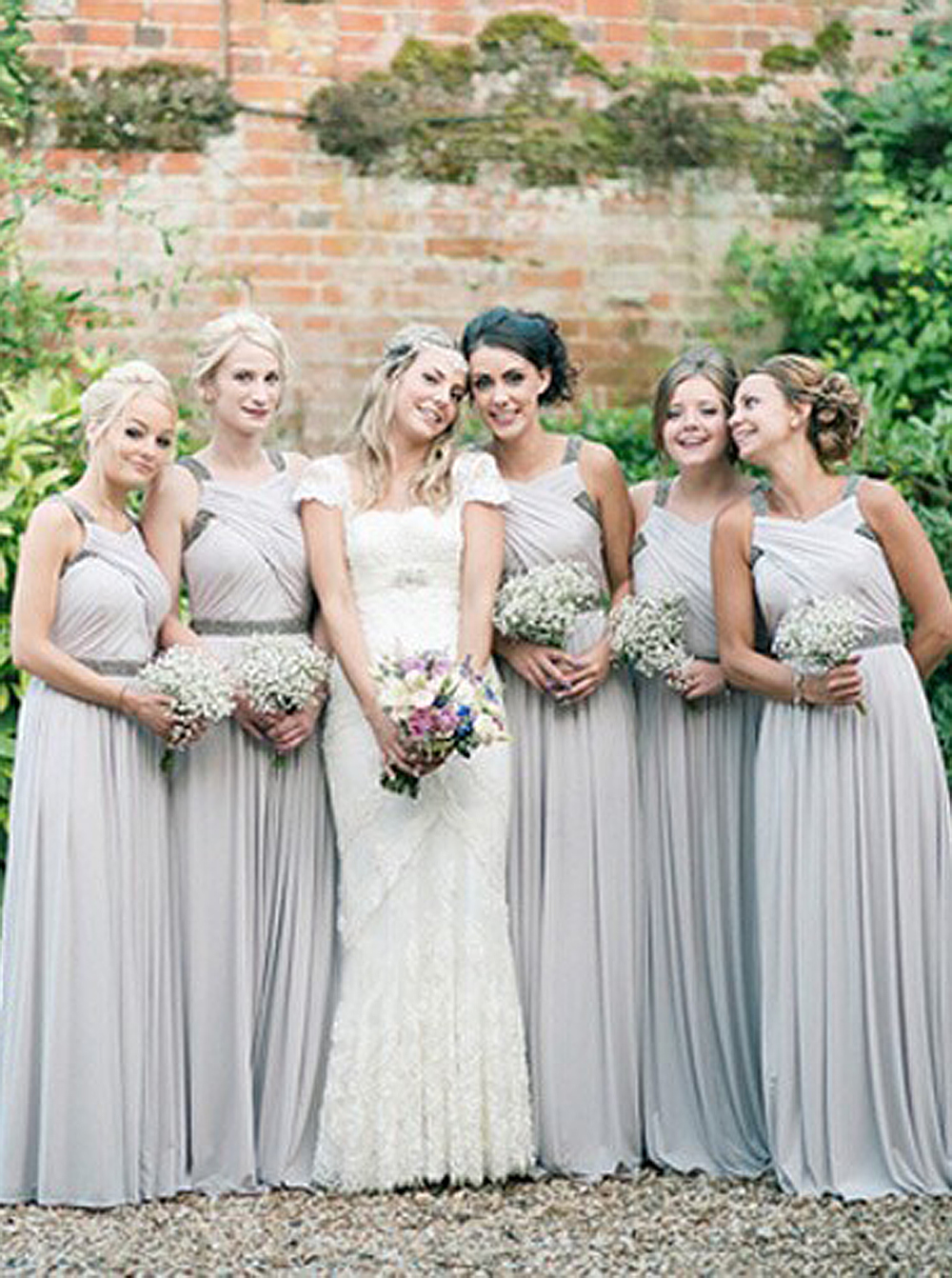 Exquisite Floor-Length Sleeveless Grey Bridesmaid Dress with Beading