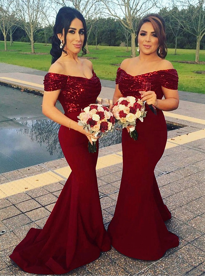 Mermaid Off Shoulder Sweep Train Dark Red Bridesmaid Dress with Sequins фото