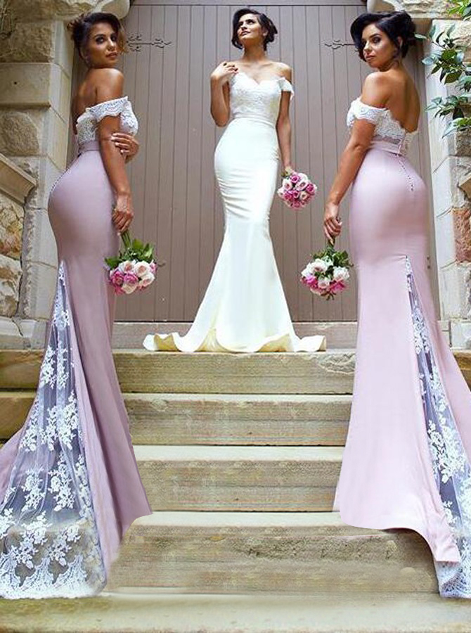 Mermaid Off-the-Shoulder Sweep Train Bridesmaid Dress with Lace, Pink