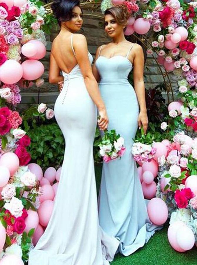Mermaid Spaghetti Straps Sweep Train Bridesmaid Dress, White