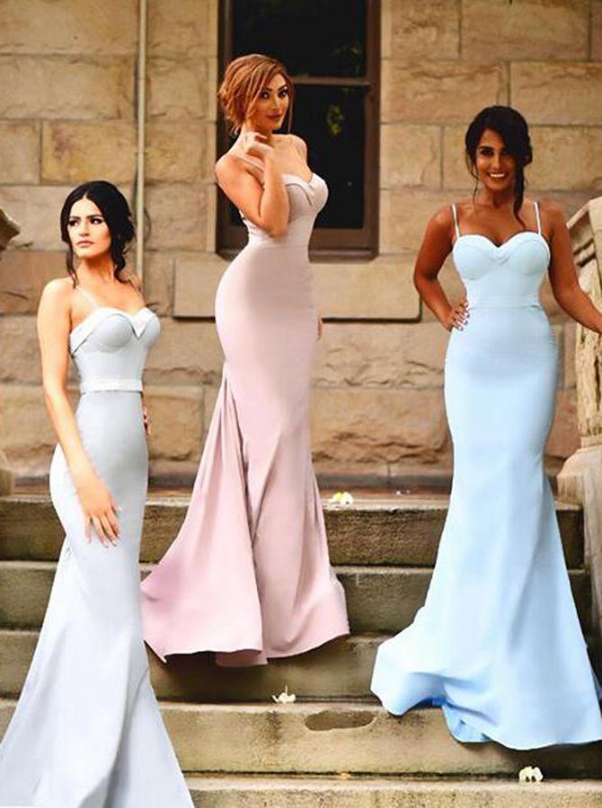 Simple Sweetheart Sweep Train Mermaid Bridesmaid Dress with Sash Ruffles Spaghetti Straps, Pink