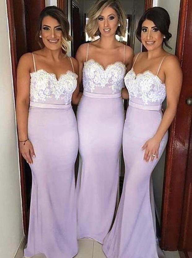 Mermaid Spaghetti Straps Lavender Elastic Satin Bridesmaid Dress with Lace фото